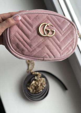 Женская сумка на пояс , бананка ( pink ) бархат