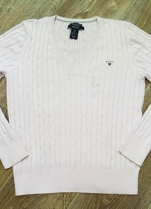 Джемпер в косичку gant/розовый свитер