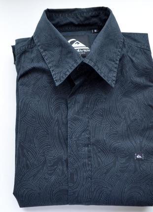 Quicksilver рубашка мужская м casual черная с узором под горло с длинным руковом