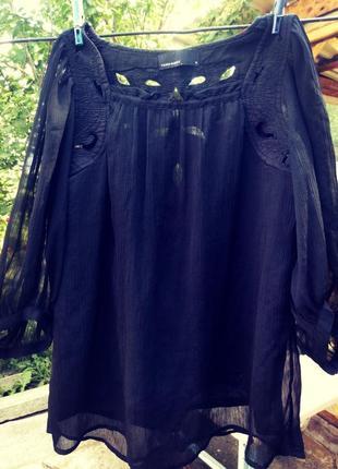 Блуза блузка разлетайка с перфорацией вышивкой ажурная кружевная шифоновая