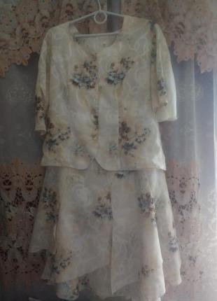 Нарядный костюм, цветочный,  батал р.52-54