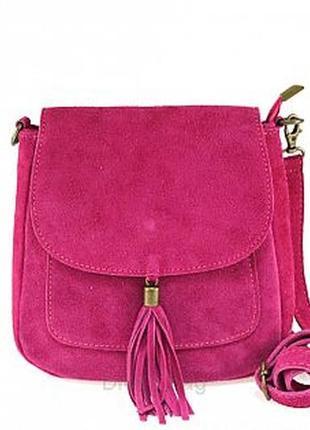 Замшевая малиновая сумка lanira италия разные цвета