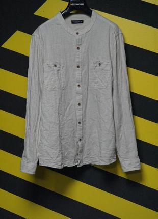 Однотонная рубашка с воротником мандарином