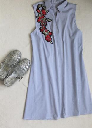 Полосатенькое платье-рубашка с нашивкой, размер s/m