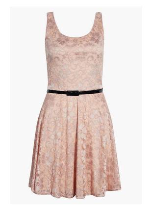 Доступно - нюдовое гипюровое платье *boohoo* 16 р.