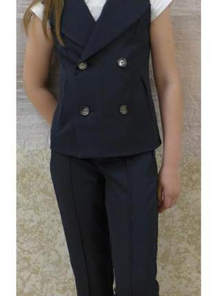 Школьный костюм брюки и жилет для девочки, 30-40