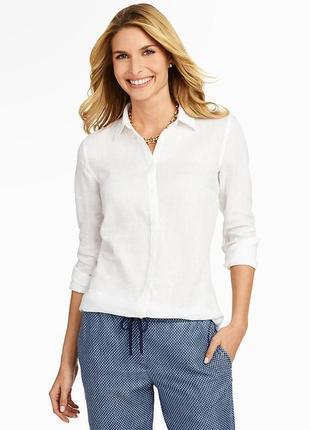 С&а белая блуза рубашка ,100% лен 14-16