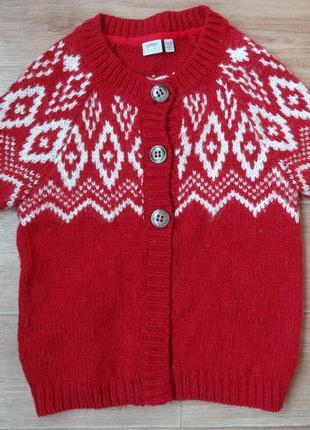 Снизила цену теплая красная кофта - жилетка esprit с модным орнаментом. зима
