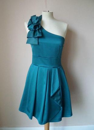Платье с пышной юбкой сине-зеленое изумрудное  spotlight by warehouse