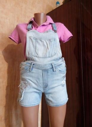 Джинсовые шорты-комбинезон h&m