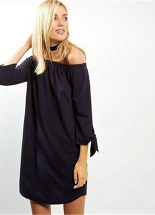 Платье туника с открытыми плечами
