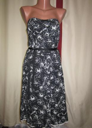 Платье миди в цветы, хлопок. 1+1= 50% скидки на 3ю вещь.