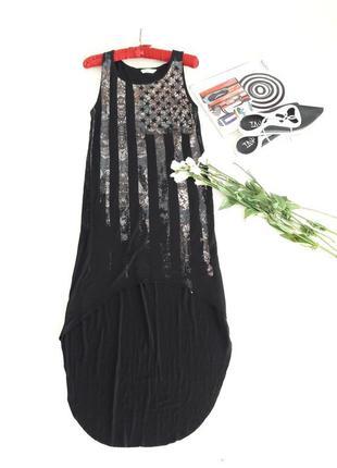 Платье ассиметрия трикотаж с принтом