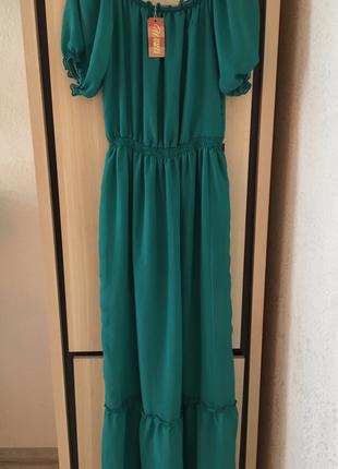 Платье в пол шифоновое открытые плечи воздушное летнее