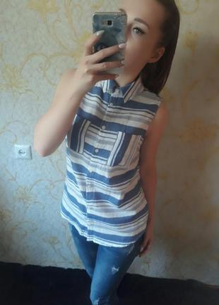 Очень красивая блузка рубашка в горизонтальную полоску