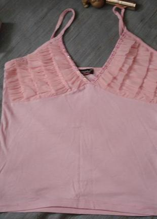 Сексуальная нежная розовая майка, блуза, блузка в рюши р.8-10