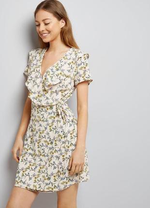 Нереальной красоты нежное платье на запах с оборками в цветах, легкий сарафан нарядный