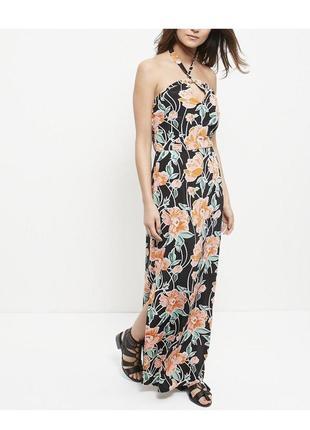 Шикарное платье макси в цветах из вискозы, сарафан в пол с вырезом на груди и разрезами