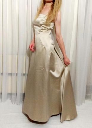 Роскошное свадебное вечернее выпускное платье в пол со шлейфом randy may collection