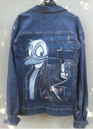 Мужская джинсовая куртка с росписью
