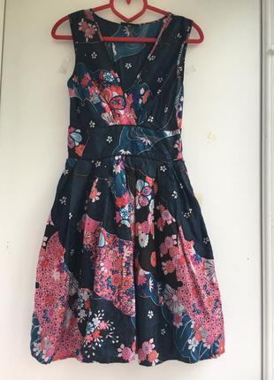 Цветочное шелковое платье пышная юбка беби долл, натуральный шелк цветы