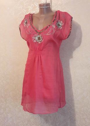 Шикарная нежная розовая шифоновая туника c вышивкой (хлопок)