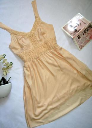 Нежное светлое повседневное миди платье сарафан из 100% хлопка от clockhouse s-m