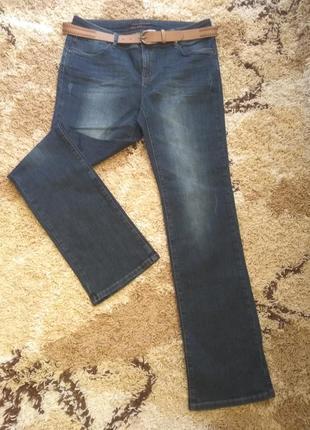 Темно синие джинсы прямые от колена с поясом promod pp l(44), распродажа!