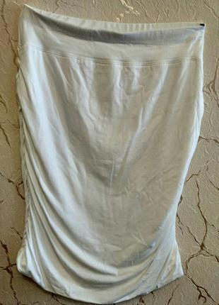 Классная белоснежная натуральная юбка карандаш, размер 44-46