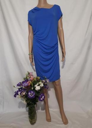 Платье синее миди сарафан цвет электрик прямое bodyflirt распродажа