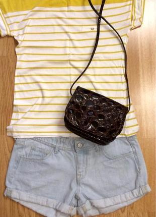 Крутая кожаная сумка h&m,лаковая сумочка кросс-боди+подарок ремень