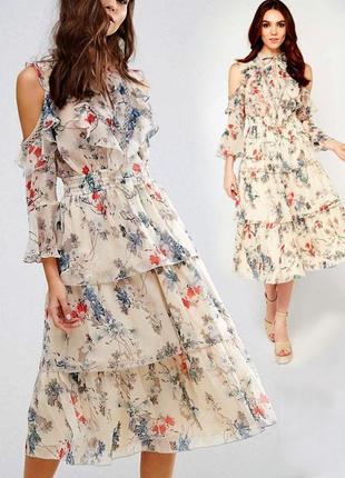 Платье с цветочным принтом и оборками asos miss selfridge с сайта asos