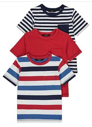 Набор футболок красный синий полосатый 2-3 года, 3-4 года