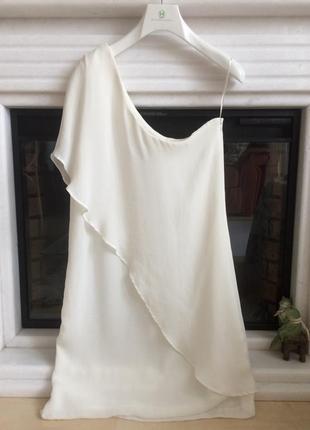 Шикарное элегантное платье на одно плечо с воланами оборками zara