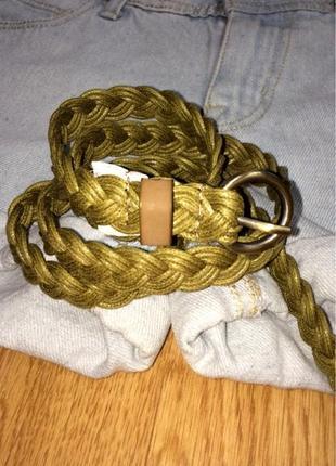 Крутой яркий ремень хаки accessorize,плетенный ремешок,пояс,поясок в подарок
