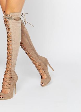 Cтильные имиджевые сапоги daisy street замшевые на шнуровке ботфорты с сайта asos