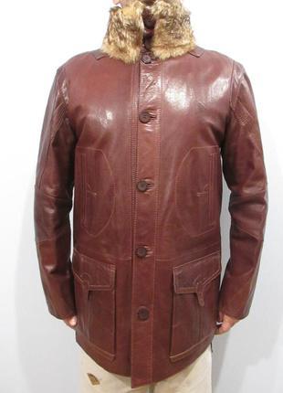 Новая мужская утепленная кожаная куртка с воротником из меха волка