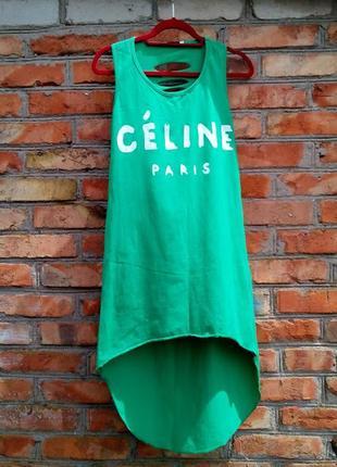 Зеленое асимметричное платье