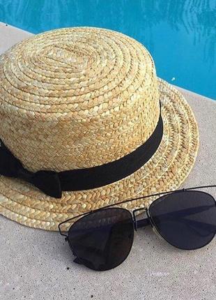 Шляпа канотье соломенная хит лета