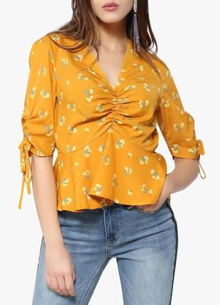 Топ в цветочный принт, блуза с завязками на рукваах