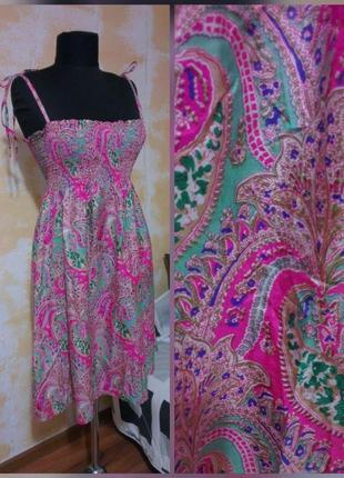 Натуральное, шёлковое платье миди, сарафан 100% шёлк