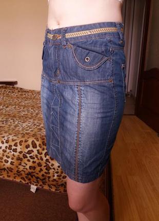 Прямая джинсовая юбка миди с карманами 12-14р uno!скидка -15%