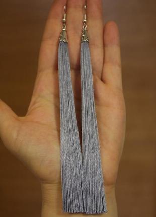 Серьги серёжки кисти кисточки длинные серые