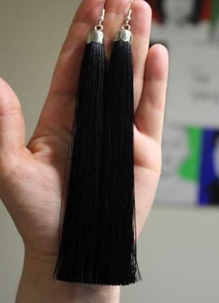 Серьги серёжки кисти кисточки чёрные толстые длинные