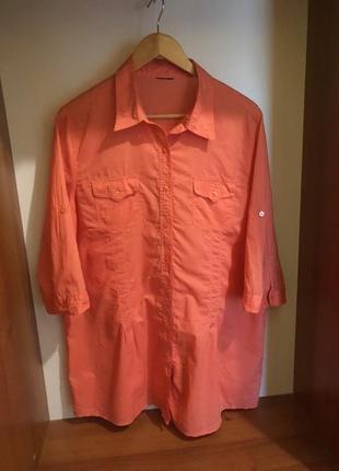 Длинная блуза-рубашка 100% хлопок