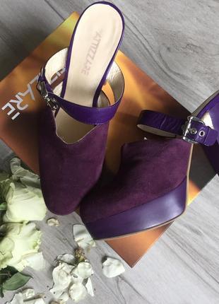 Фиолетовые замшевые сабо шлёпанцы attizzare
