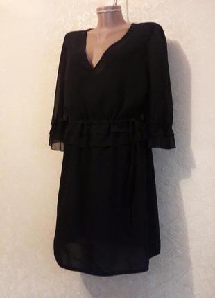 Красивое легкое летнее шифоновое черное платье с оборками