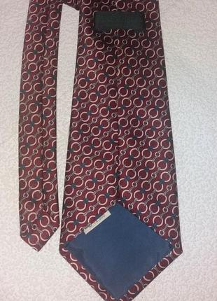 Фирменный люкс галстук, шелк, ручная работа, бордо-коричневый, голубой, белый, синий