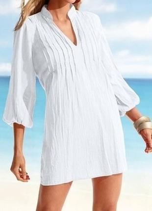 Женская белоснежная фирменная рубашка туника из льна и хлопка