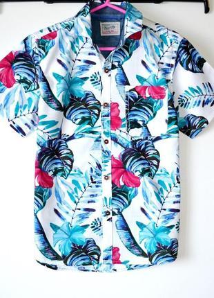 Оригинальная рубашка в яркий тропический принт